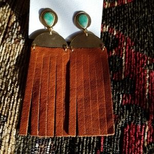 Free People Suede Fringed Turqoise Earrings